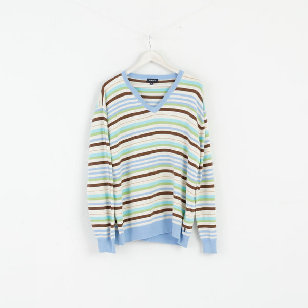 GANT Men XXL Jumper Beige Blue Striped Cotton V Neck Classic Light Sweater