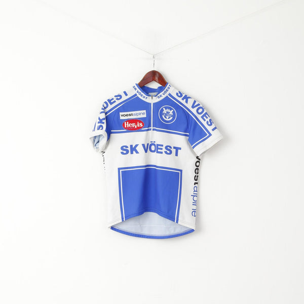 Sherpa Men M Cycling Shirt Blue Vintage Hervis Sports SK Voest Retro Bike Top