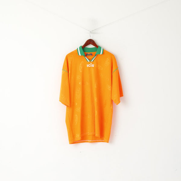 ICIS Men XL Polo Shirt Orange Neon Vintage Football Activewear Jersey Top