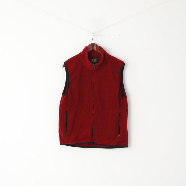 Helly Hansen Men M Bodywarmer Maroon Fleece Full Zipper Outdoor Unisex Vest
