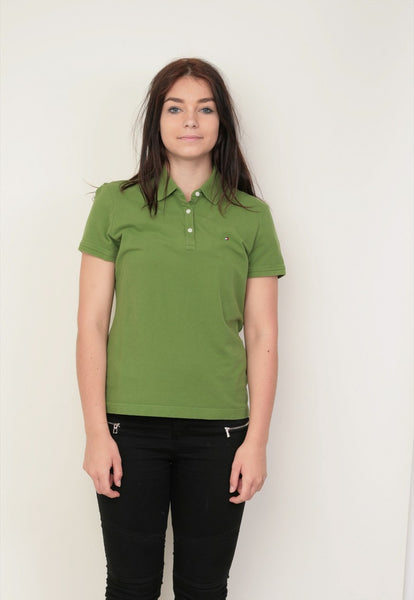 Tommy Hilfiger Womens L Polo Shirt Green Cotton - RetrospectClothes