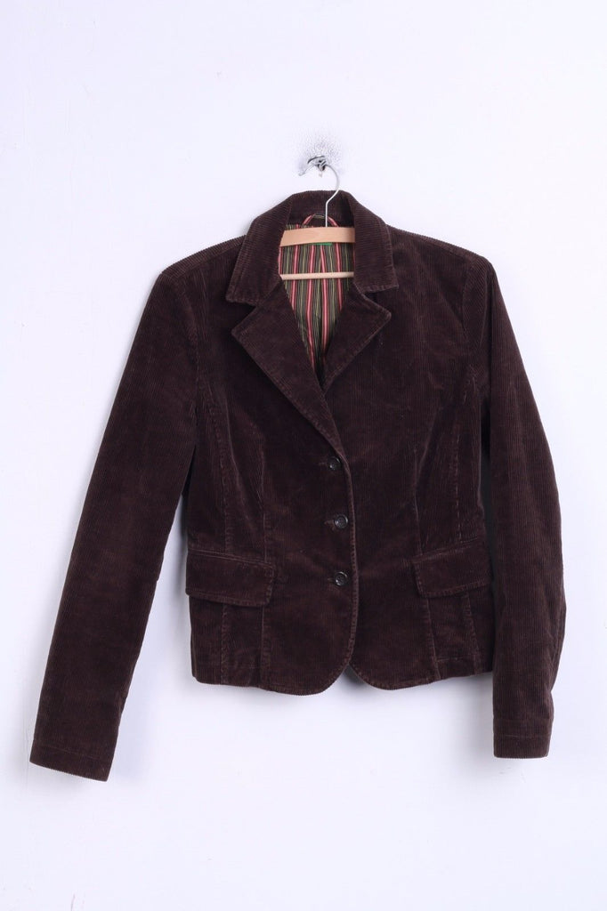 United Colors Of Benetton Womens 44 M Blazer Single Breasted Brown Corduroy Jacket