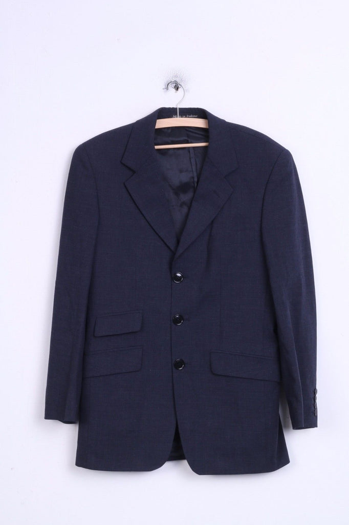 John Rocha Mens 38 S Blazer Jacket Wool Single Breasted Navy