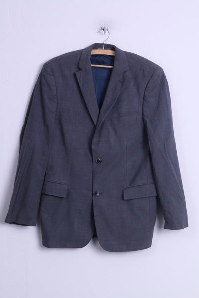 Hugo Boss Mens 48 38R S Jacket Grey Blue Wool Single Breasted Blazer