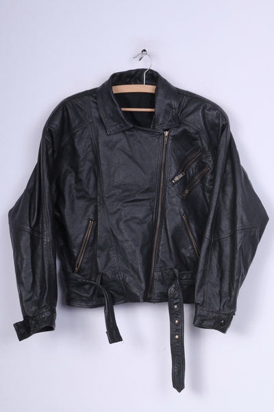 C&A Womens 40 M Biker Jacket Ramones Leather Black Full Zipper Shoulder Pads