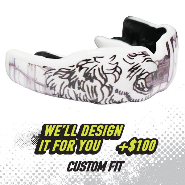 Custom Rugby Mouthguard with graphic design by Damage Control