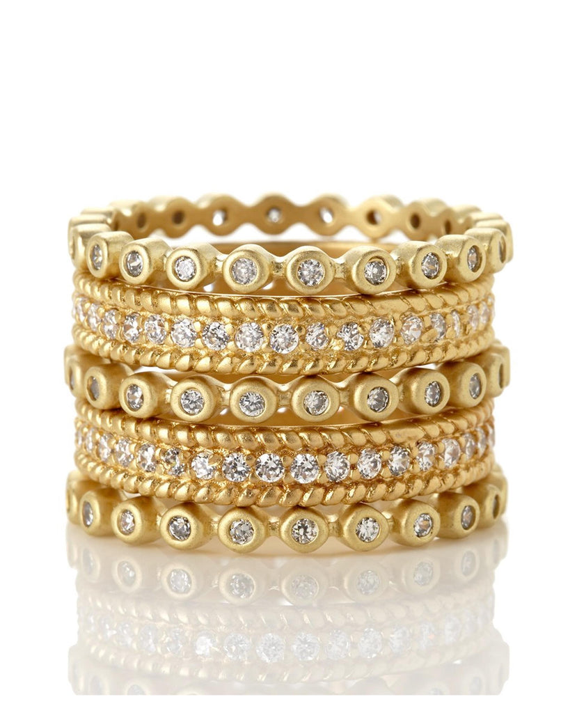 Freida Rothman Set of 5 Stackable Rings YZR0963B (Choose free two-day shipping at checkout)