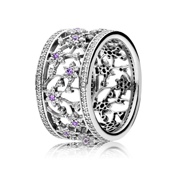 Pandora 190991ACZ Ring Forget Me Not, Purple & Clear CZ (Choose free two-day shipping at checkout)