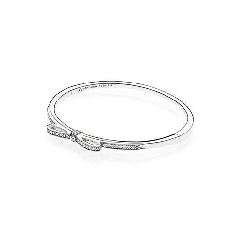 Pandora 590536CZ Hinged Bangle Sparkling Bow with CZ (Choose free two-day shipping at checkout)