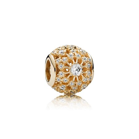 Pandora 14K Yellow Gold Openwork Decorative Charm with Clear CZ (Choose two-day free shipping at checkout)