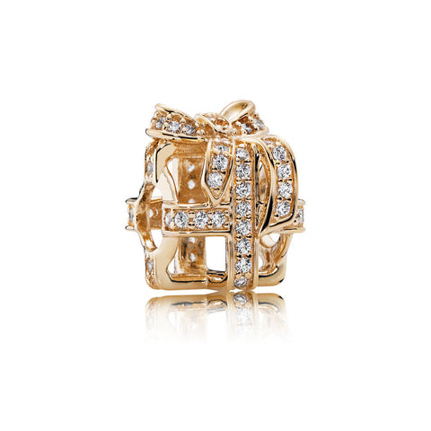 Pandora 14K Gold 'All Wrapped Up' Openwork Gift Charm with Clear CZ (Choose free two-day shipping at checkout)