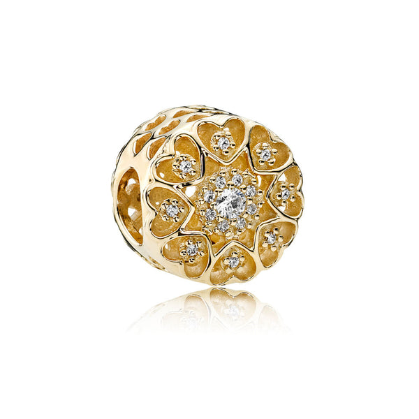 Pandora 14K Charm Hearts of Gold with Clear CZ. (Free Two-Day Shipping at Checkout)