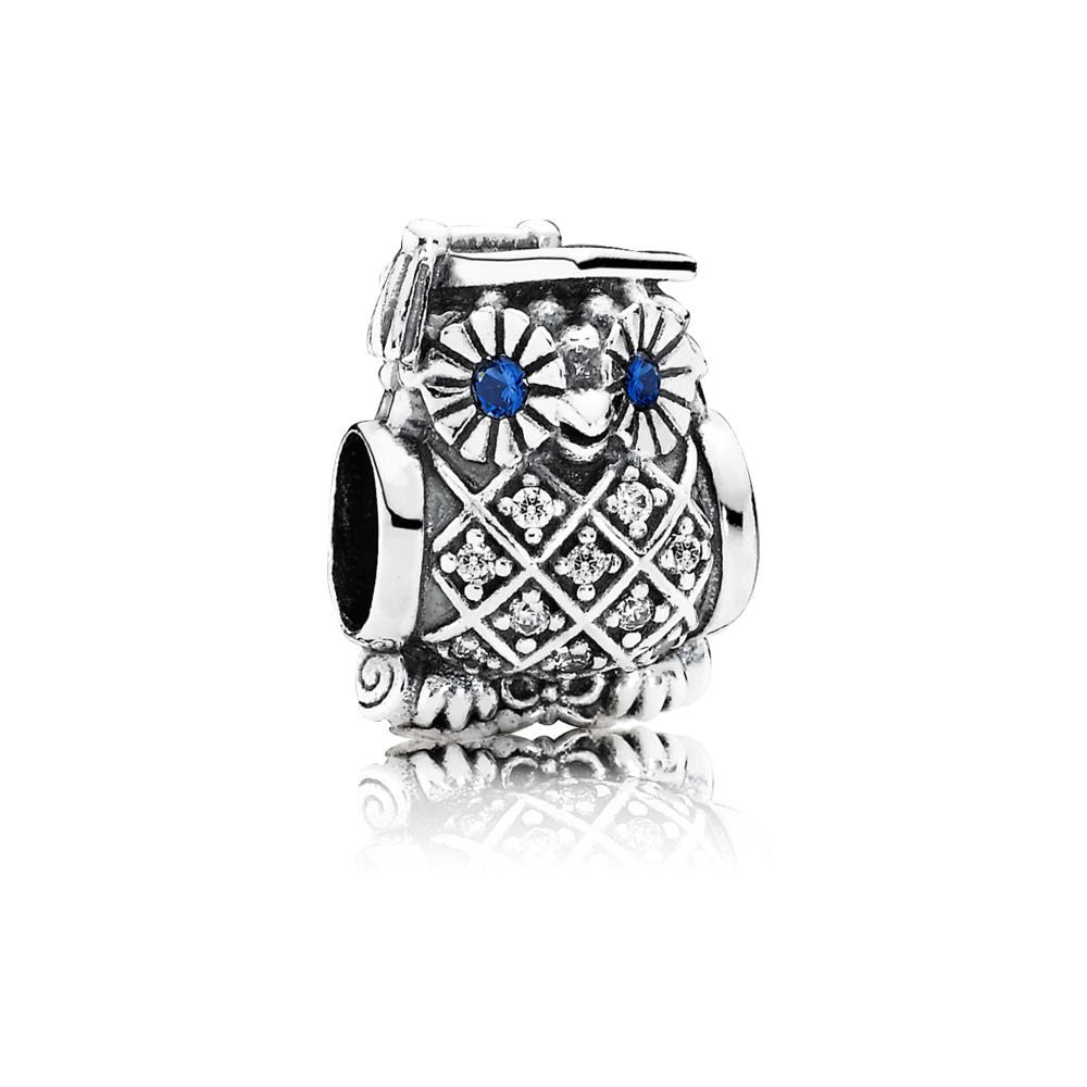 Pandora 791502NSB Charm Graduate Owl, Swiss Blue Crystal and CZ (Choose free two-day shipping at checkout)