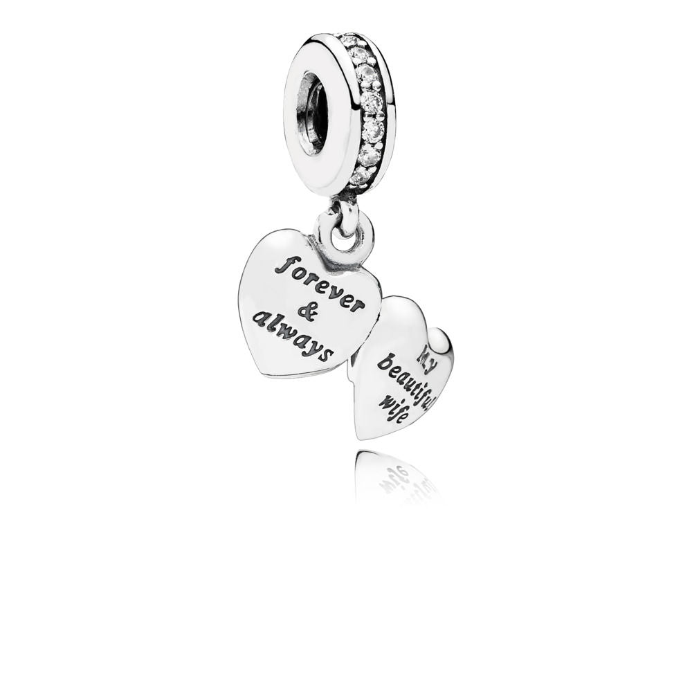 Pandora Sterling Silver Dangle My Beautiful Wife with Clear CZ. (Choose Free Two-Day Shipping at Checkout)