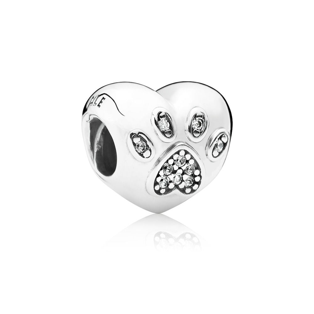 Pandora Sterling Silver Charm I Love My Pet with Clear CZ.