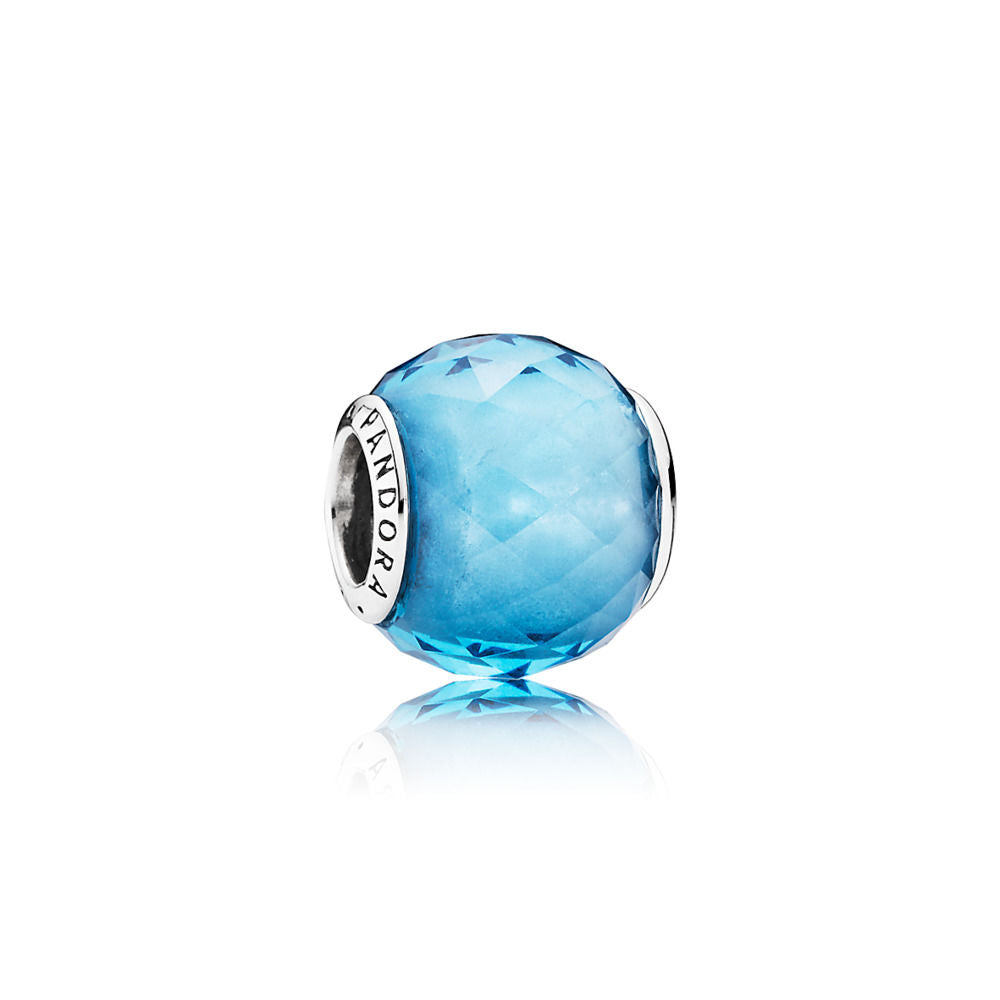 Pandora Sterling Silver 'Geometric Facets' Abstract Charm with BFaceted Sky Blue Crystal. (Free Two-Day Shipping at Checkout)