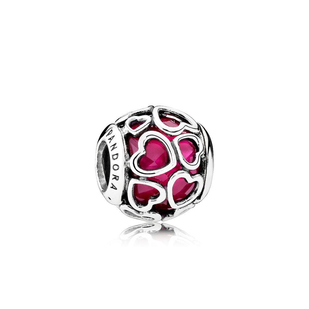 Pandora 792036NCC Charm Cerise Encased in Love with Encased Faceted Cerise Crystal.