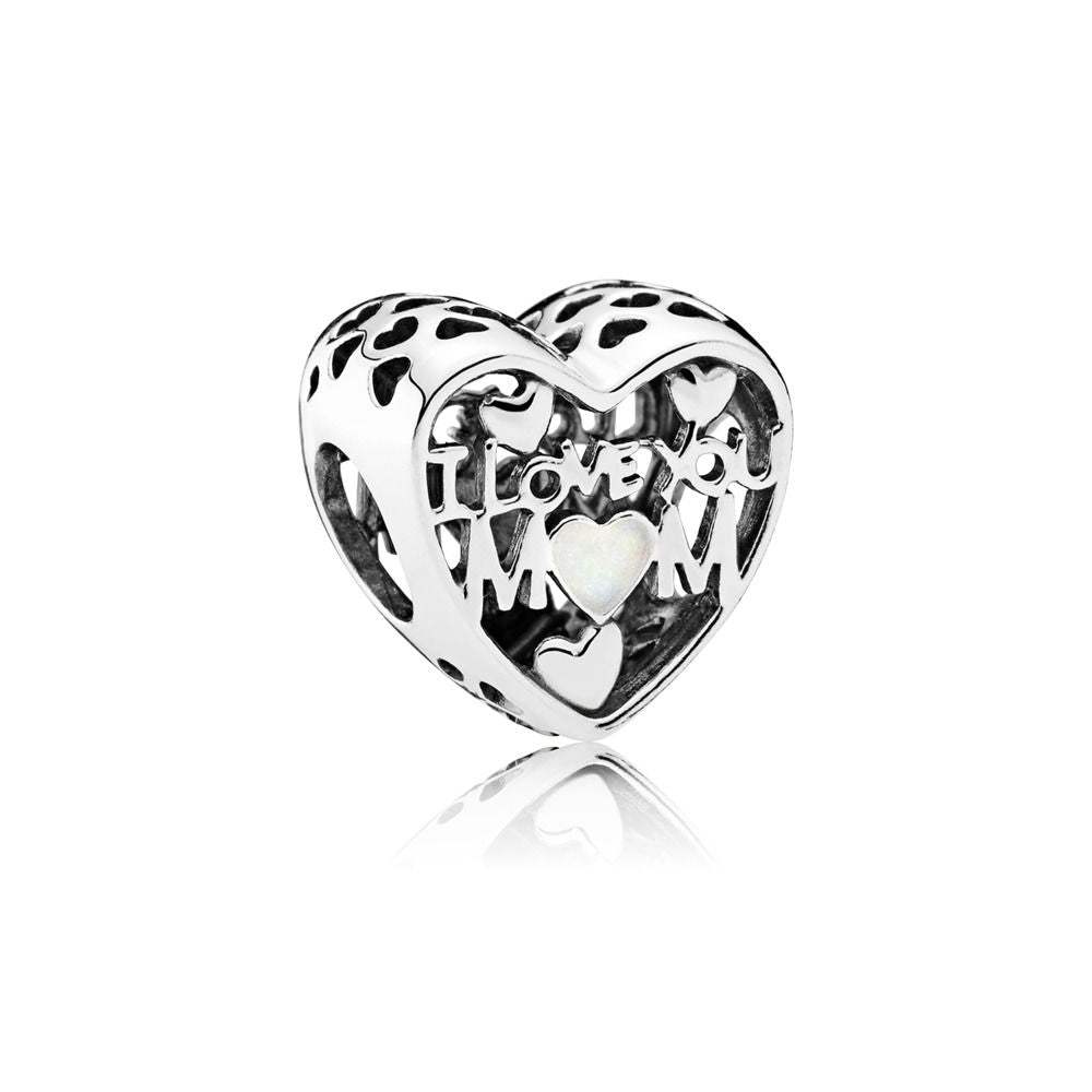 Pandora 792067EN23 Sterling Silver Charm Love for Mother Silver Enamel (Choose free two-day shipping at checkout)