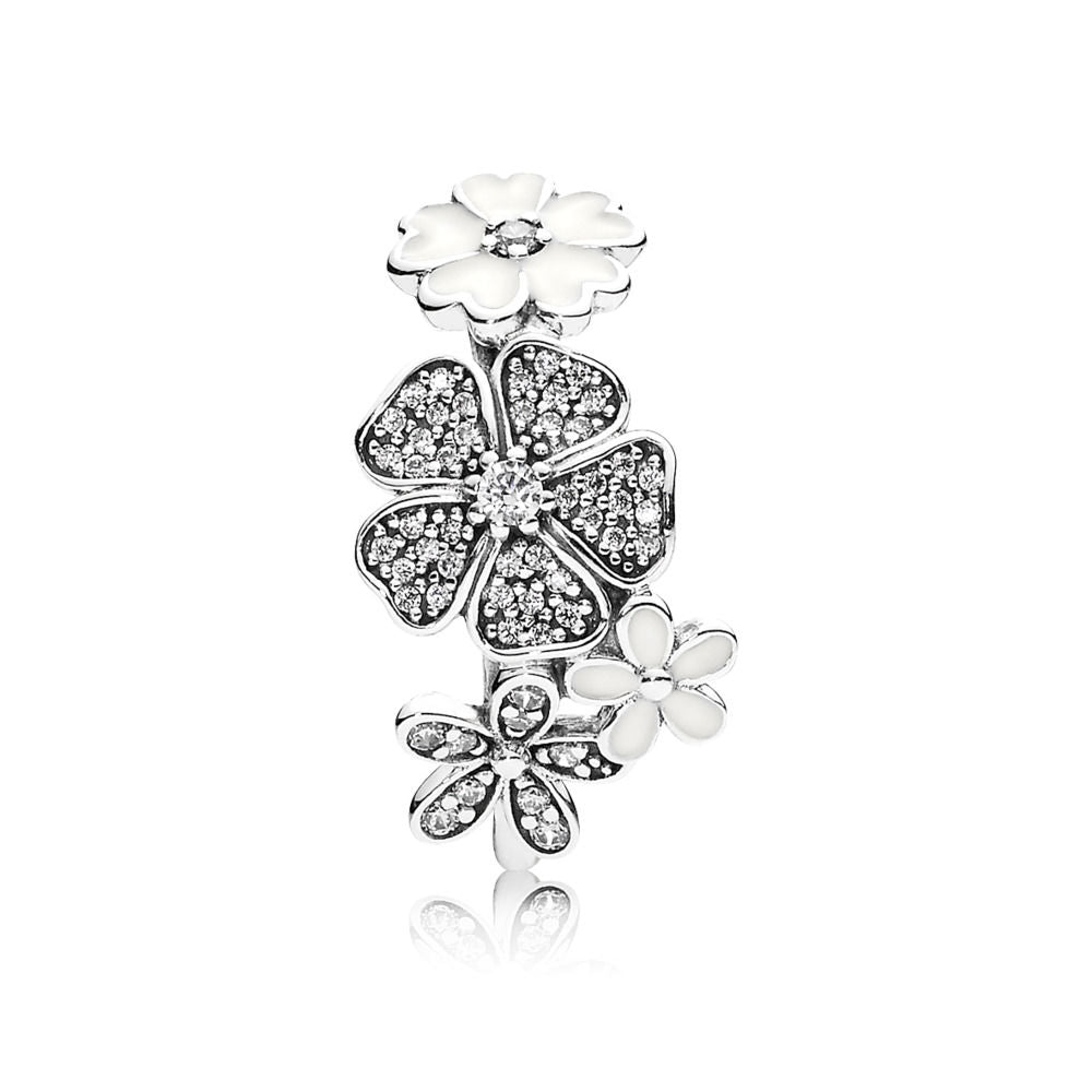 PANDORA 190984CZ Ring Shimmering Bouquet, White Enamel & Clear CZ (Choose free two-day shipping at checkout)