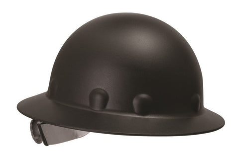 Full Brim Injection Molded Fiberglass Hard Hat with Ratchet Suspension, Black