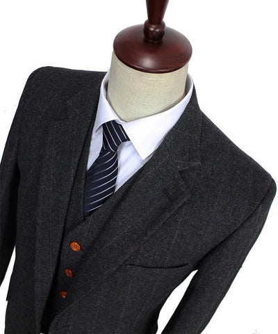 Dark Gray Woolen Tweed Suit. Mens' Formal Wear, Tailor Custom Made, 3 Piece