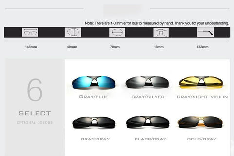 Fashion Men Sunglasses. Designer Brand, Polarized Night Vision Sun Glasses, Male Eyewear