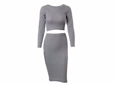 Sexy Women Autumn Winter Party Dress, 2-Piece Set, Long Sleeve, Ladies Bandage Dress Bodycon