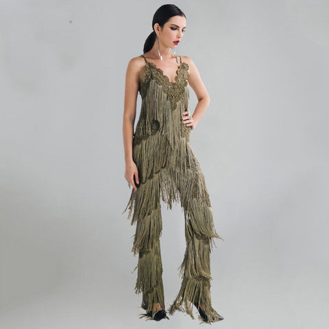 Sexy Sleeveless V-NECK Halter Lace Tassel Jumpsuit For Women