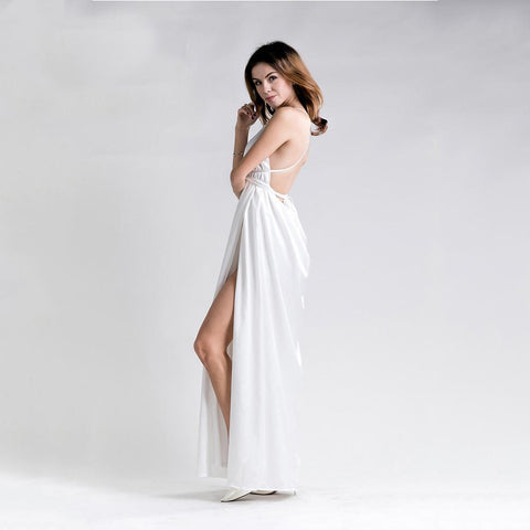 Sexy Deep V Halter Sleeveless Split Maxi Dress For Special Ocassions & Parties