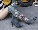Women Sexy Side Zipper Denim Jeans Boots. Pencil Heel Pointed Toe Crystal Knee High Boots