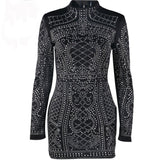 Sexy Ladies Rhinestone Dress. High-Necked Long-Sleeved Dress For Special Occasions & Parties