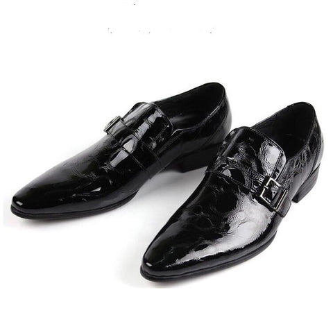 Real Men's Pointed Toe Dress Shoe. Black Italian Patent Leather Slip On, Men Wedding Shoes Footwear