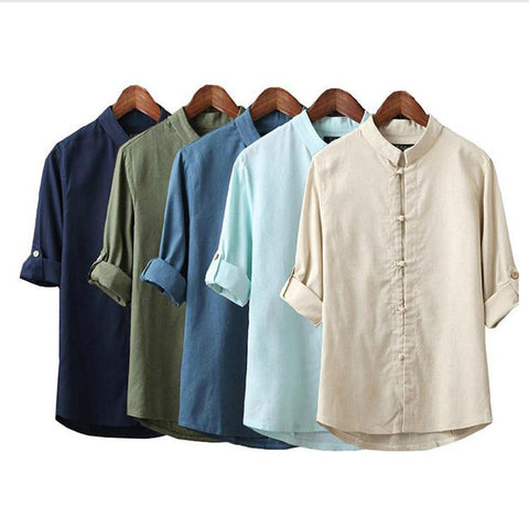Men Linen Long Sleeve Shirt, Traditional Kung Fu Casual Shirt, Chinese Style Mandarin Collar.