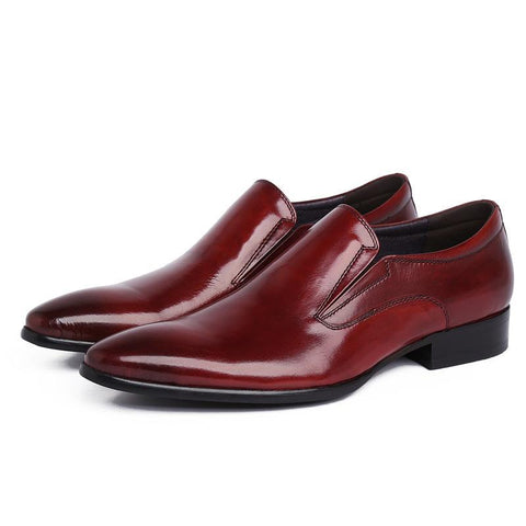 Real Gentleman Black Leather Dress Shoe. Quality Brand Italian Real Cowhide Loafers for Formal Wear