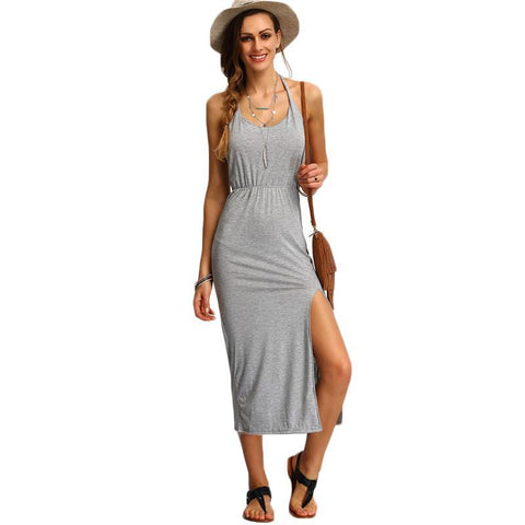 Women's Sleeveless Backless Halter, Side Split Sheath Long Ladies Cotton Dress