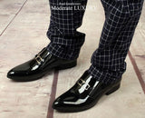 Men's Top Quality Black Dress Shoe. Genuine Patent Leather Italian Fashion loafers for Formal Wear