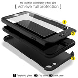 360 Degrees Full Protection Case + Clear Glass, PC Case For iPhone 7, 7 Plus, 6, 6S, Plus 5, 5S, SE