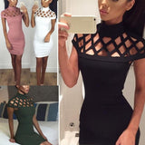 Women High Neck Cut Out Evening/ Party Dress, Sexy Bandage Bodycon, Short Sleeve Sheath
