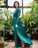 Sexy V-Neck Long-Sleeved Split Green MAXI Dress For Women