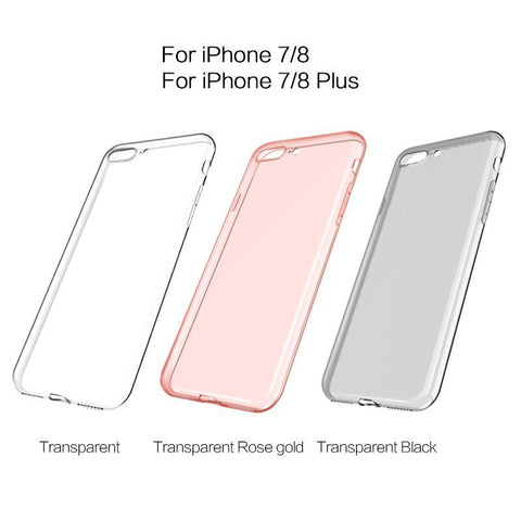 Luxury Slim TPU Silicon Clear Case, 360 Transparent Silicon Cover for Apple iPhone X,8, 7, 7Plus