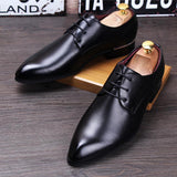 Genuine leather Men's Derby Shoe. Pointed Toe Formal Dress Shoe