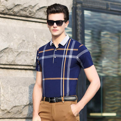 Quality Men Polo Shirt. Plaid Patchwork, Short Sleeve. Cool Mercerized Cotton, Luxury Brand