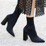 Quality Elastic Sock Ankle Boots for Women.  High Heels Stretch Boots, Pointed Toe