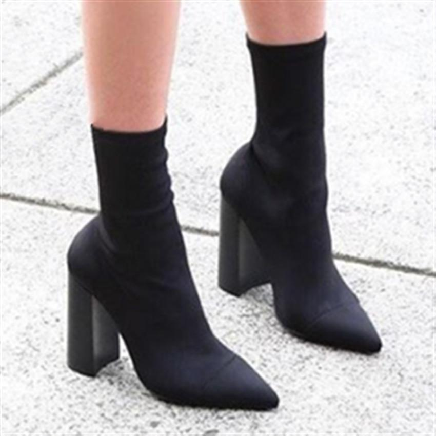 f7a38ac071ab Quality Elastic Sock Ankle Boots for Women. High Heels Stretch Boots ...