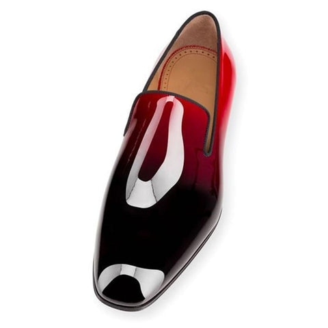 Patent Leather Red Black Dress Shoe for men. Mens Flat Shoe, Loafers, Creepers