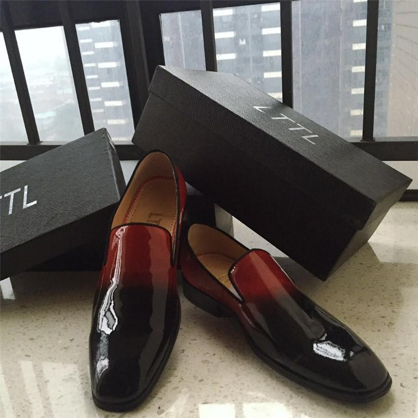 9963df65077 Patent Leather Red Black Dress Shoe for men. Mens Flat Shoe, Loafers,  Creepers