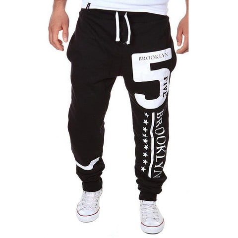 New Style Men's Fashion Sweatpants, Printed Letters Pattern Leisure Joggers M-XXL