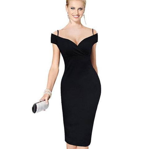 Sexy Elegant Solid Stylish Slash Neck Bodycon Knee Length Midi Women Formal Pencil Bardot Dress