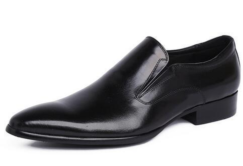 30cccad4d7019 Real Gentleman Black Leather Dress Shoe. Quality Brand Italian Real Cowhide  Loafers for Formal Wear