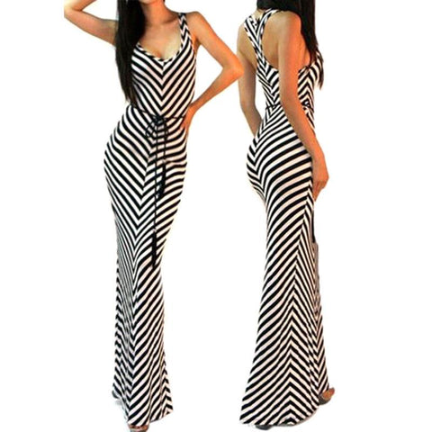 Sexy Stripe Dress, Women V-neck bodycon, Party Long Dress, Female Maxi Dress